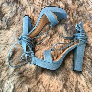 Chase & Chloe Helen Denim Chunky Heel Sandals